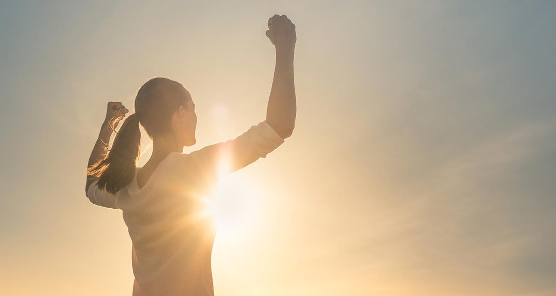 Woman achieving success