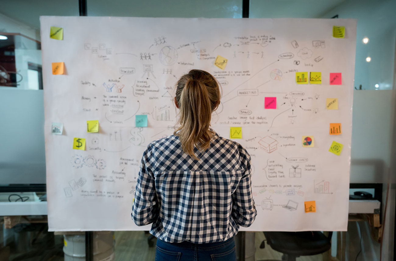 woman working at white board with post-it notes
