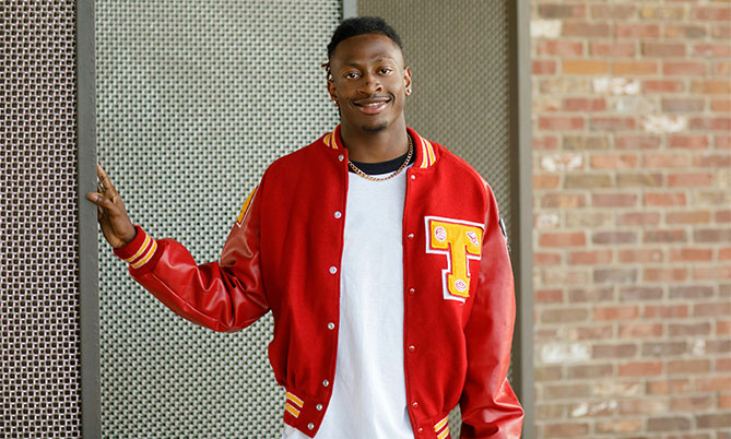 Student wearing letterman jacket
