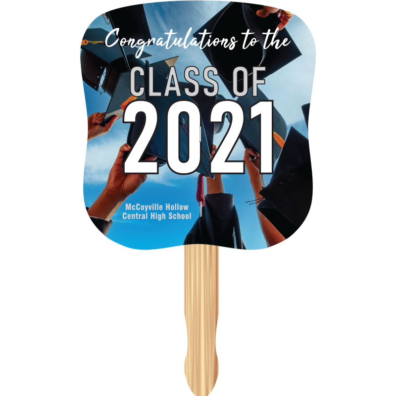 Full color custom hand fan with graduation theme