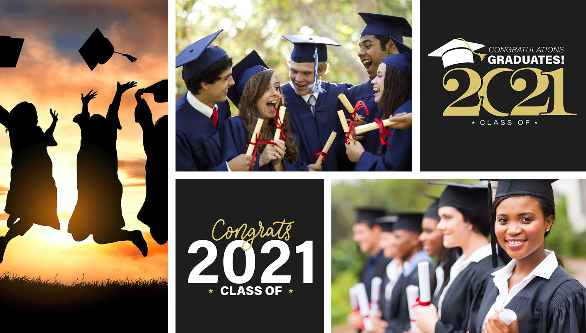 collage of graduation scenes and logos