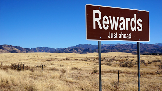 Rewards ahead sign