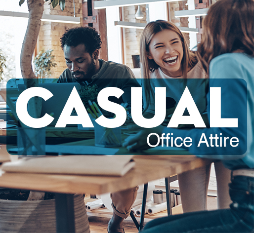 Employees wearing causual office attire