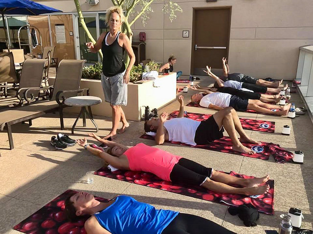 Yoga session at sales event